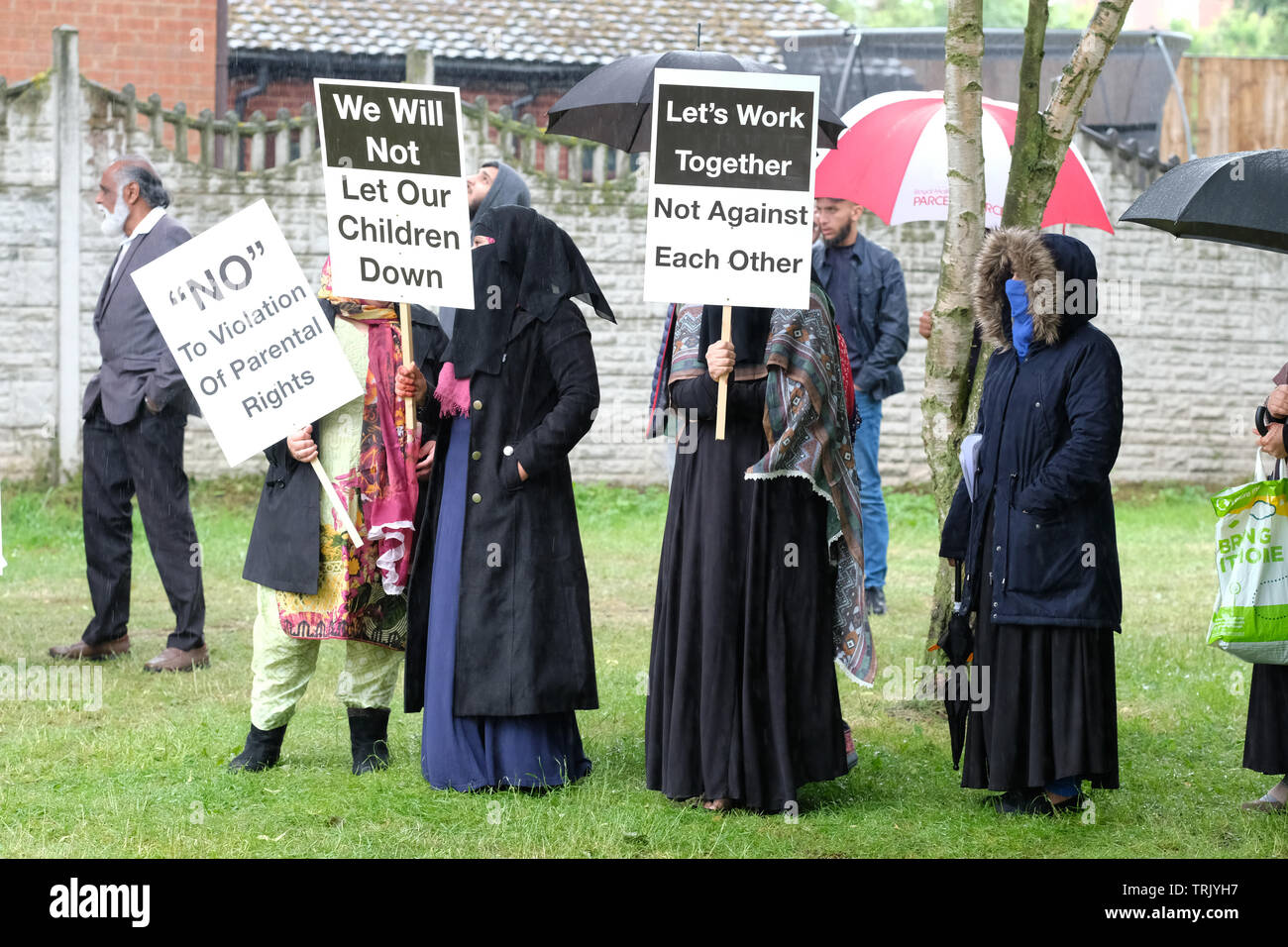 Birmingham, UK - Friday 7th June 2019 - Protesters gather near the Anderton Park Primary School in Birmingham in a protest against the No Outsiders education program - A High Court injunction is in force to prevent protesters gathering directly outside the school. Credit: Steven May/Alamy Live News - Stock Image