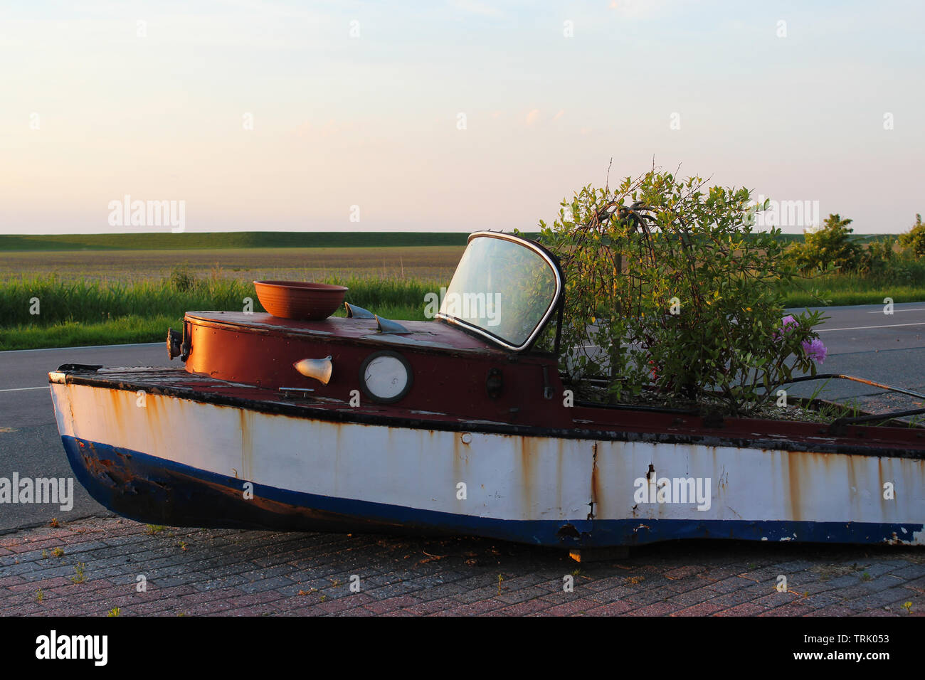 Rusty old sport boat repurposed to a plant tub and decorated with flowers, green field or grassland under beautiful sunset sky - Stock Image