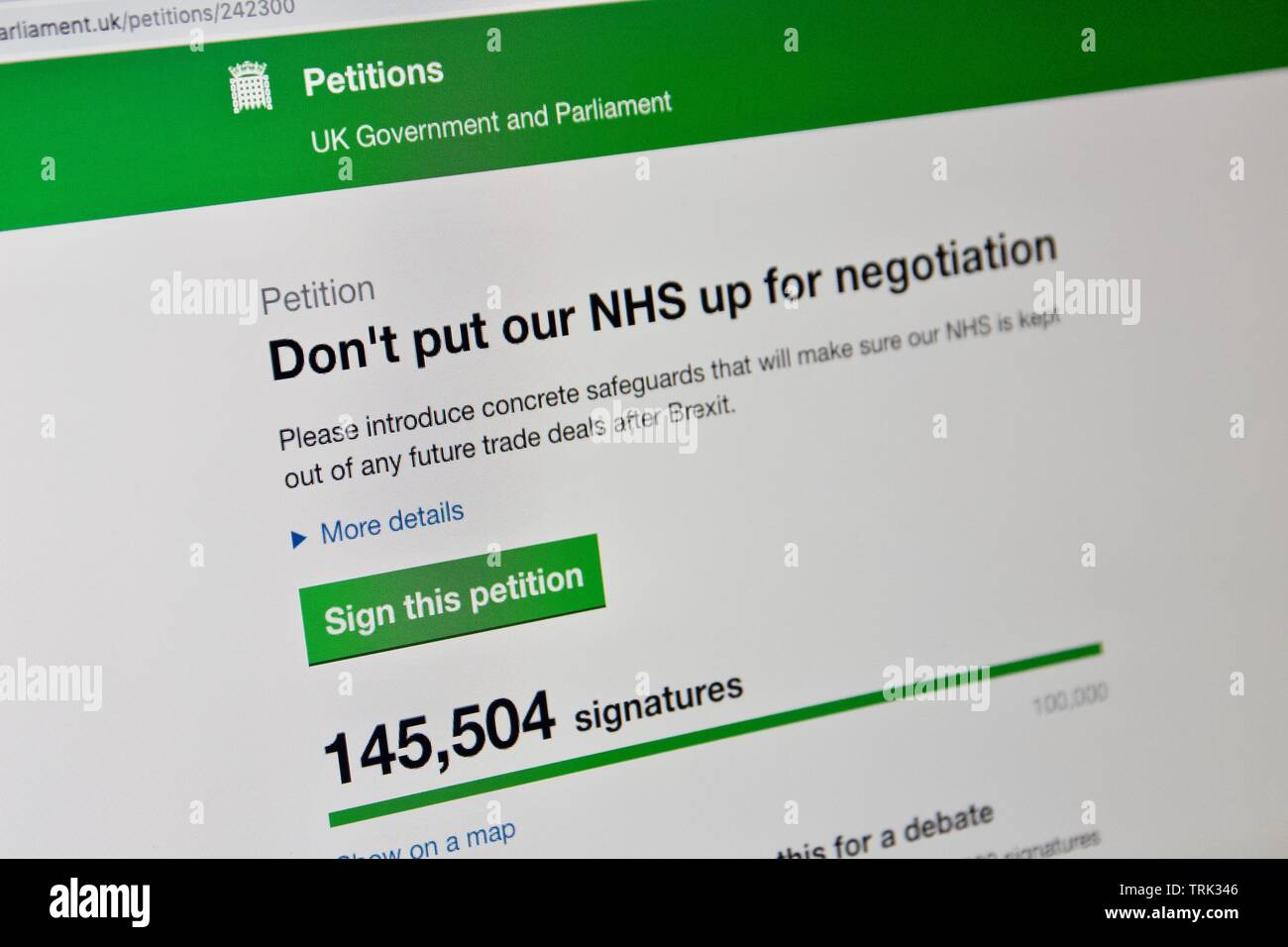 UK online petition for not putting NHS up for negotiation after Brexit - Stock Image