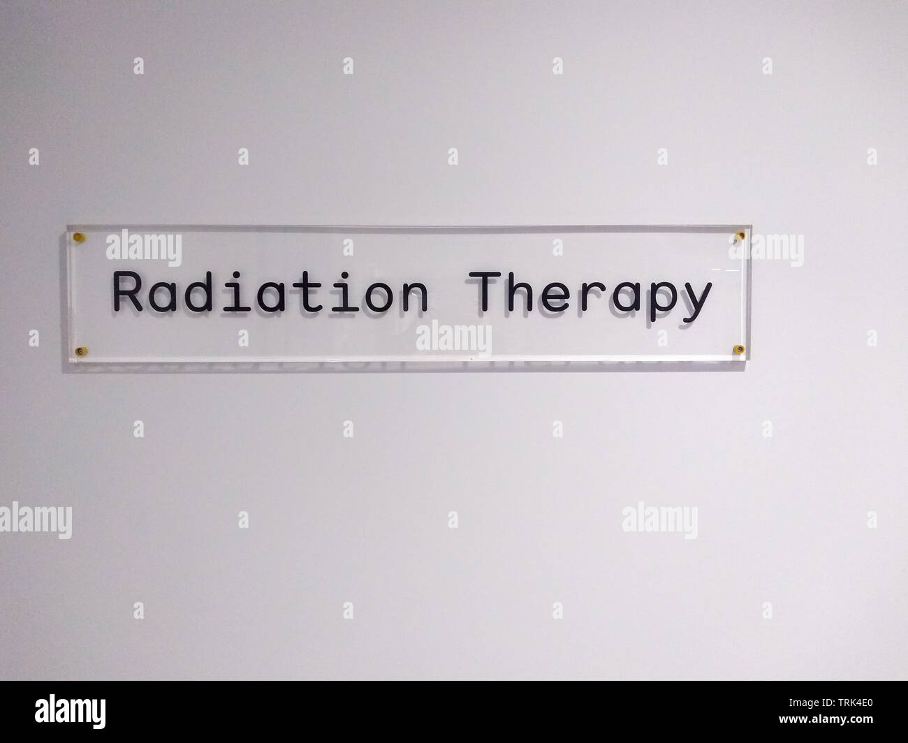 Radiotherapy Department , clear glass sign in a Australian hospital - Stock Image