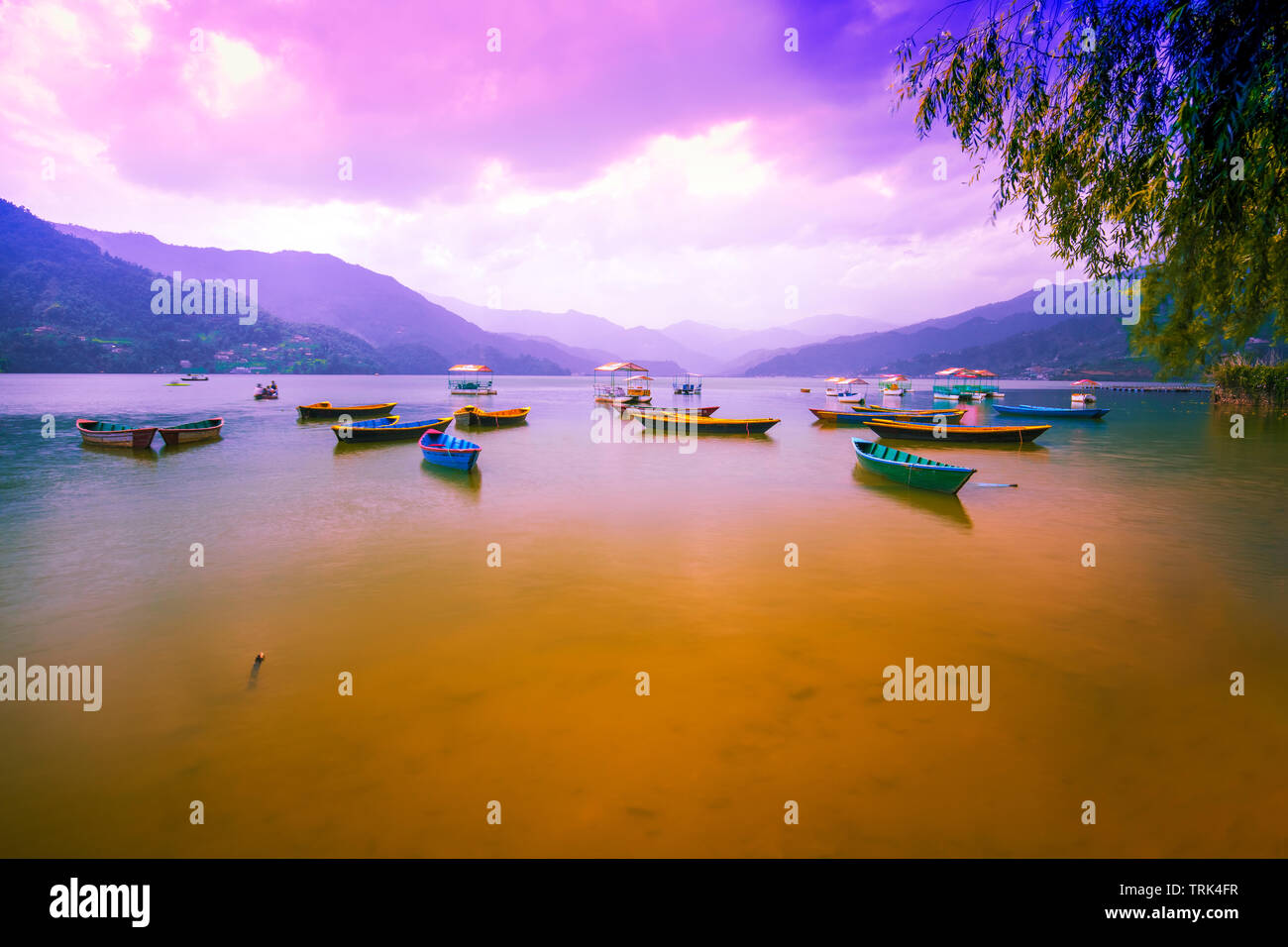 Beautiful Phewa Lake and Colorful Boats. with sunset sky.view from Phewa Lake Pokhara Nepal. - Stock Image