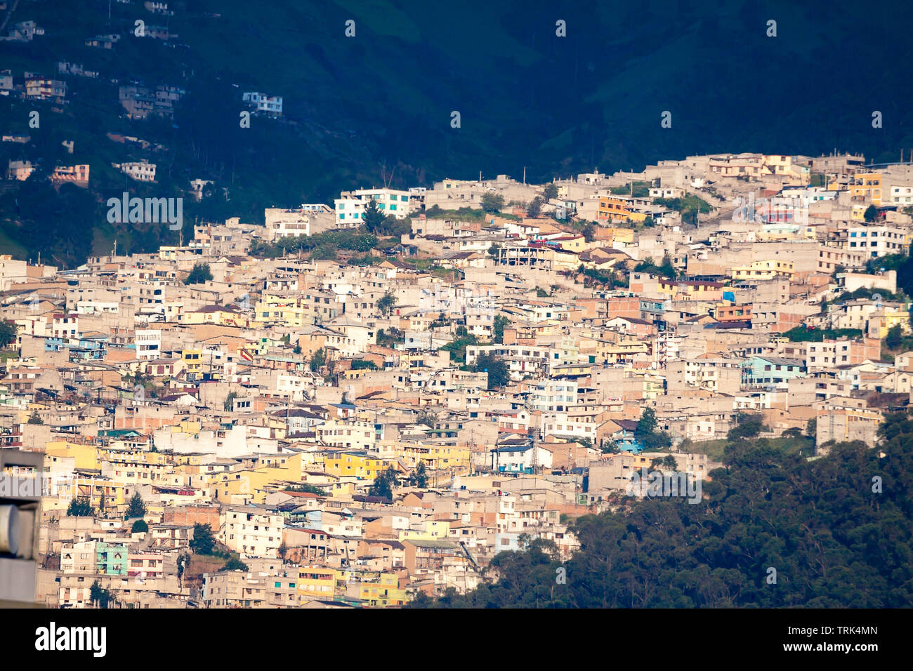 A hillside neighborhood in Quito, the capital city of Equador. - Stock Image