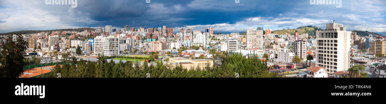 The view of Quito looking west from the JW Marriott Hotel on Ave Orellana. Quito is the capital city of Equador. - Stock Image