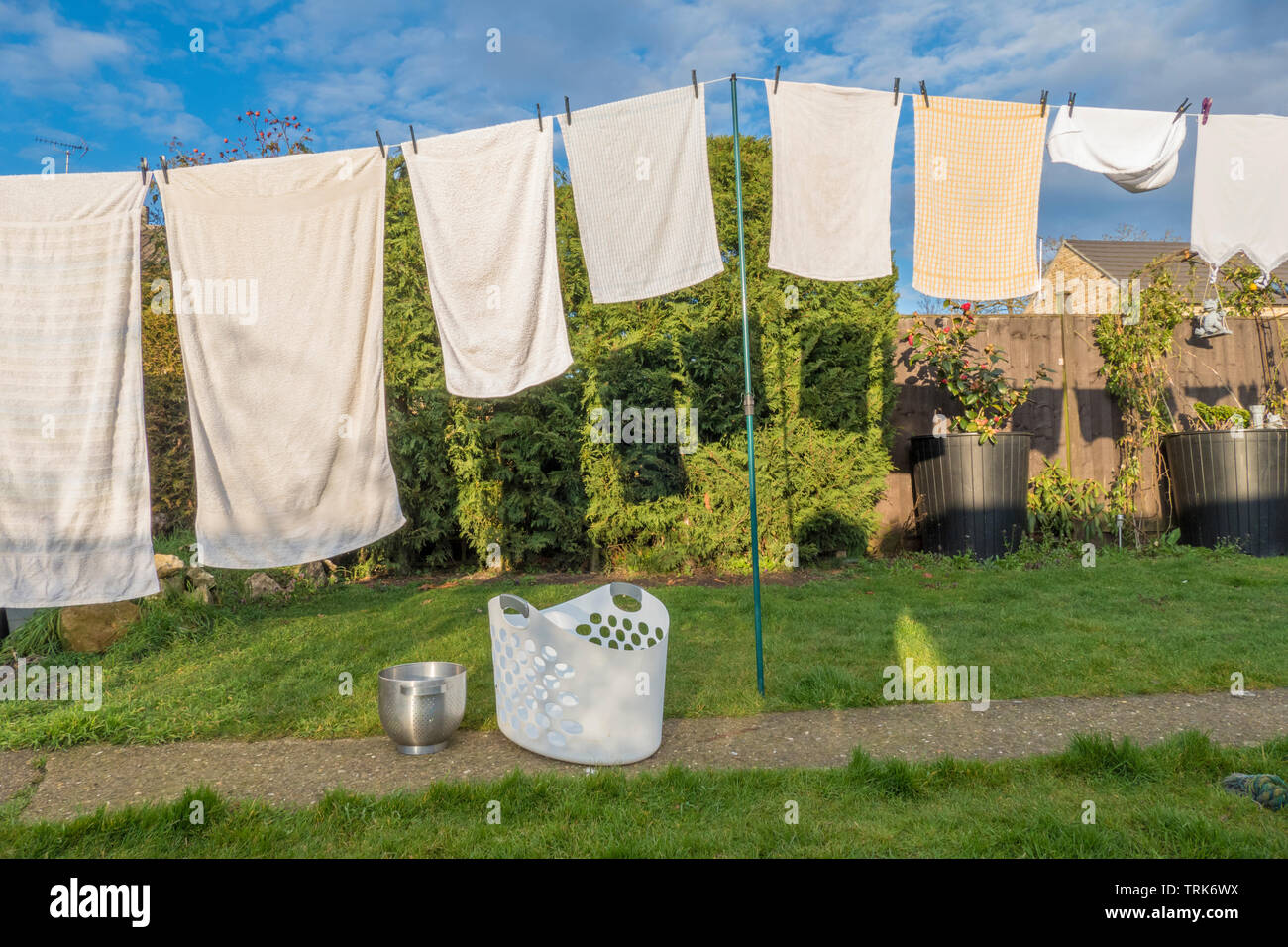 Front view of domestic laundry of wet clothes and towels, pegged and hanging out to dry on a washing line in the warm afternoon sunshine. England, UK. - Stock Image