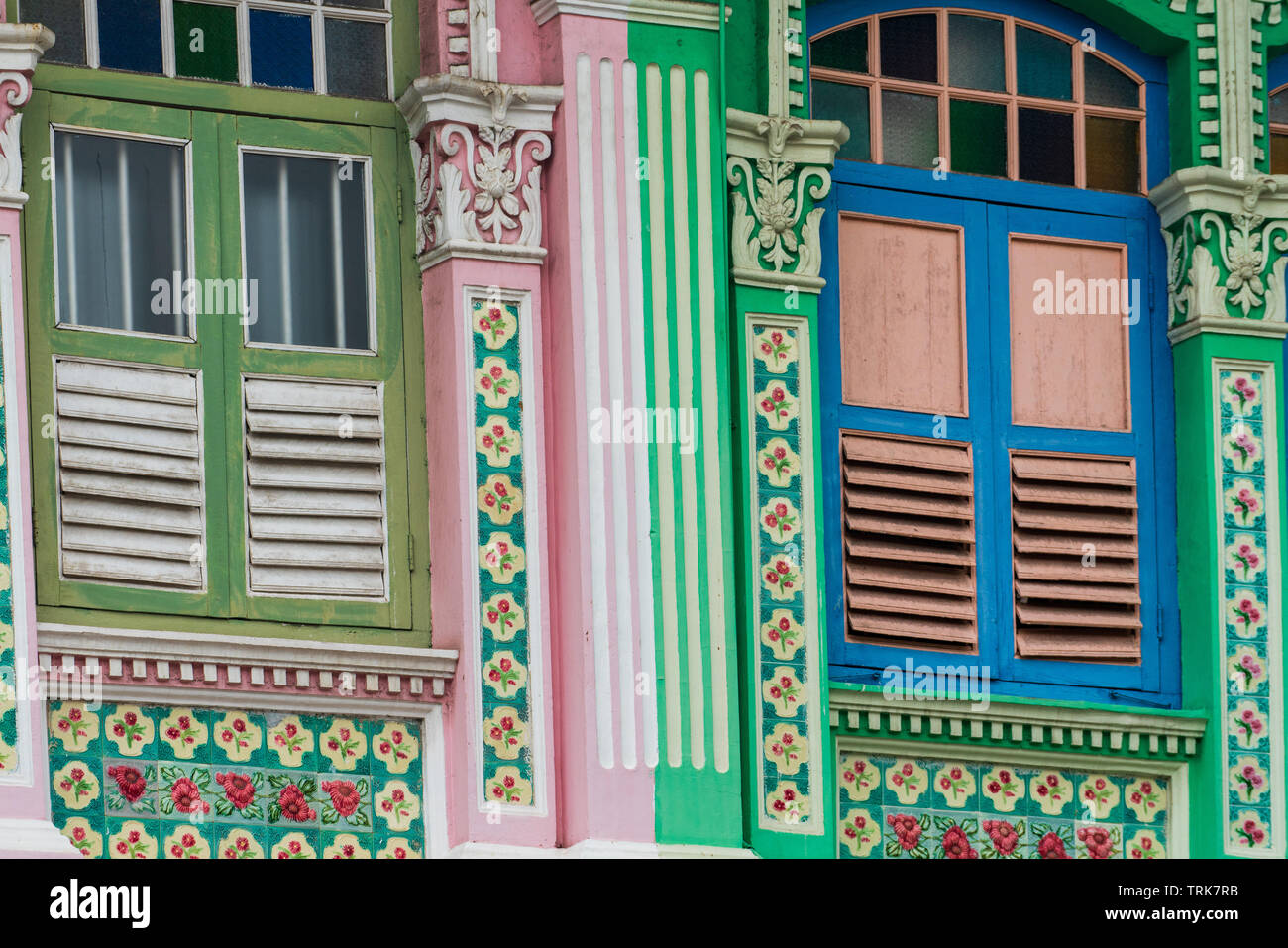 The Joo Chiat area of Singapore is well known for Peranakan style architecture and colourful shophouses. - Stock Image