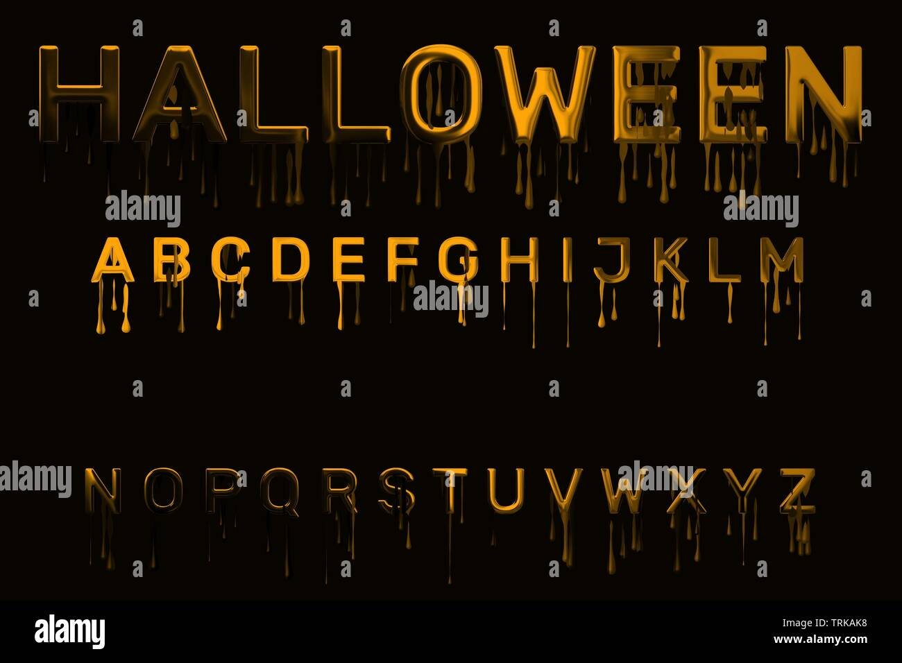 Halloween font, glossy alphabet set with orange dripping