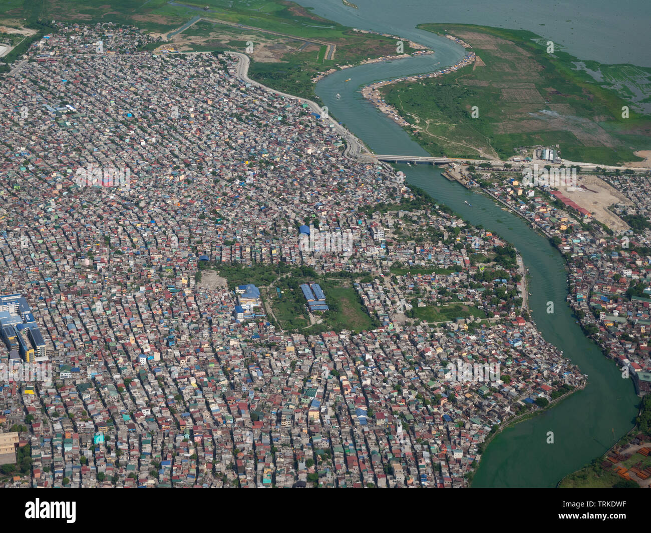 Aerial photo of Nagpayong and Pasig River in Pasic City, Metro Manila, the Philippines. - Stock Image