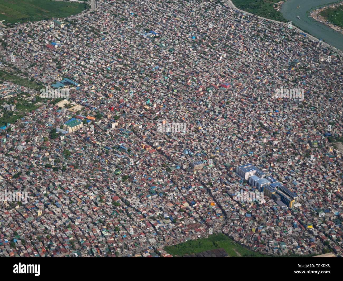 Aerial photo of Nagpayong in Pasic City, Metro Manila, the Philippines. - Stock Image