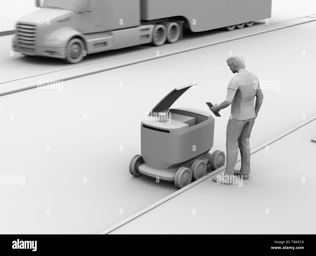 Clay rendering of low polygon style man using smartphone unlock and pick up parcel from self-driving delivery robot. Last one mile concept - Stock Image
