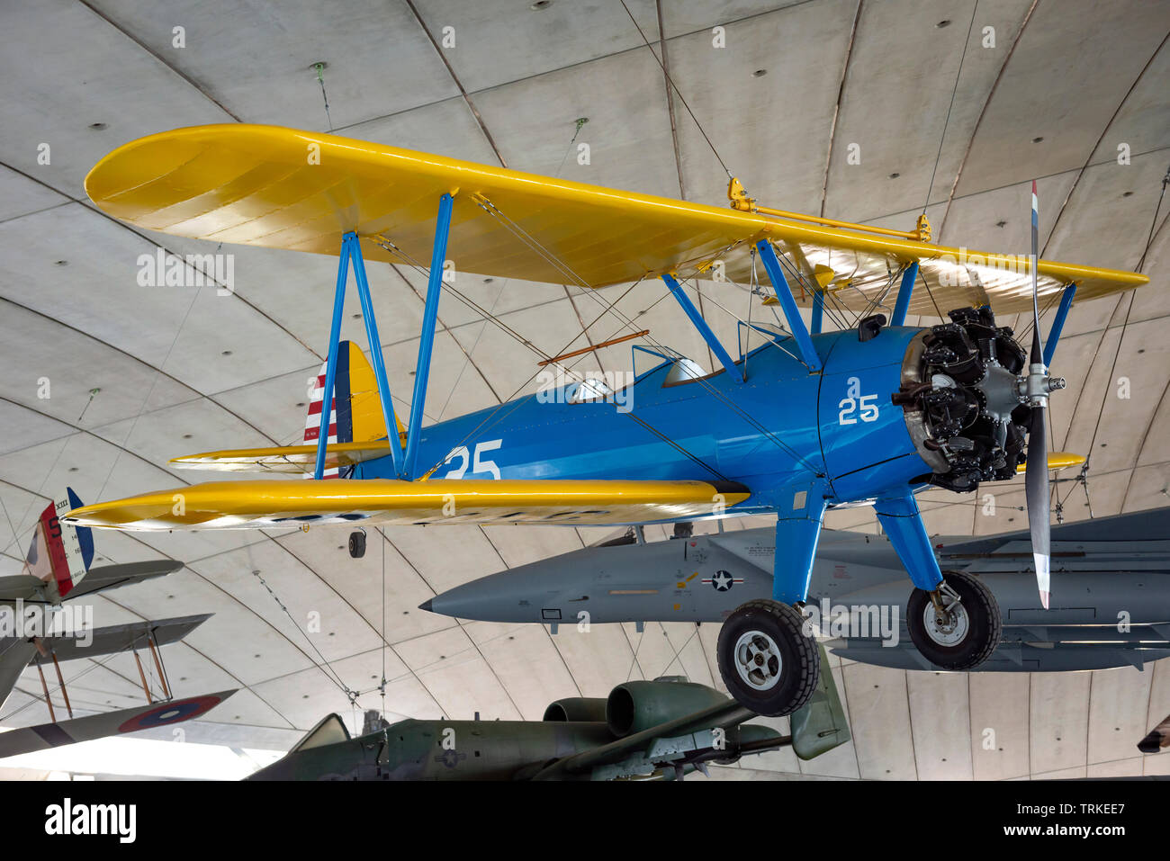 Boeing-Stearman Model 75 (PT-17) trainer biplane at the Imperial War Museum, Duxford, Cambridgeshire, UK - Stock Image