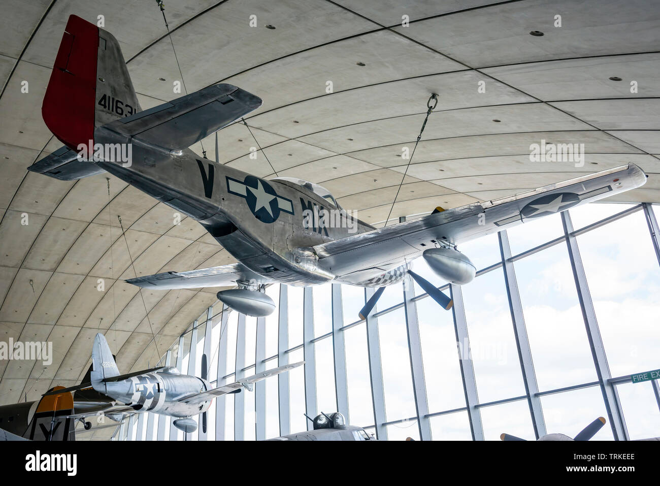 North American Aviation P51 Mustang World War Two fighter aircraft at the Imperial War Museum, Duxford, Cambridgeshire, UK - Stock Image