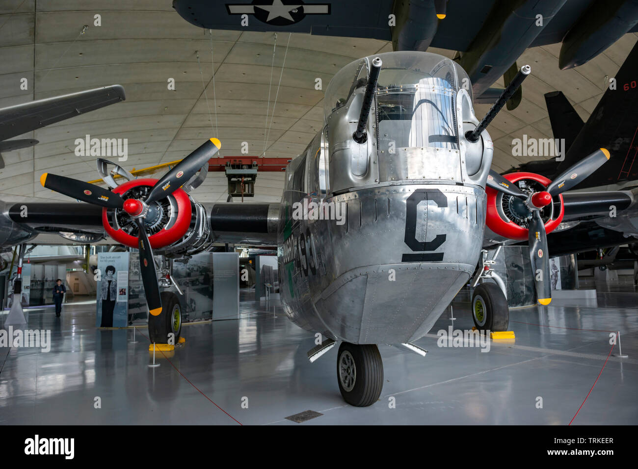 World War Two Consolidated B24 Liberator heavy bomber at the Imperial War Museum, Duxford, Cambridgeshire, UK - Stock Image