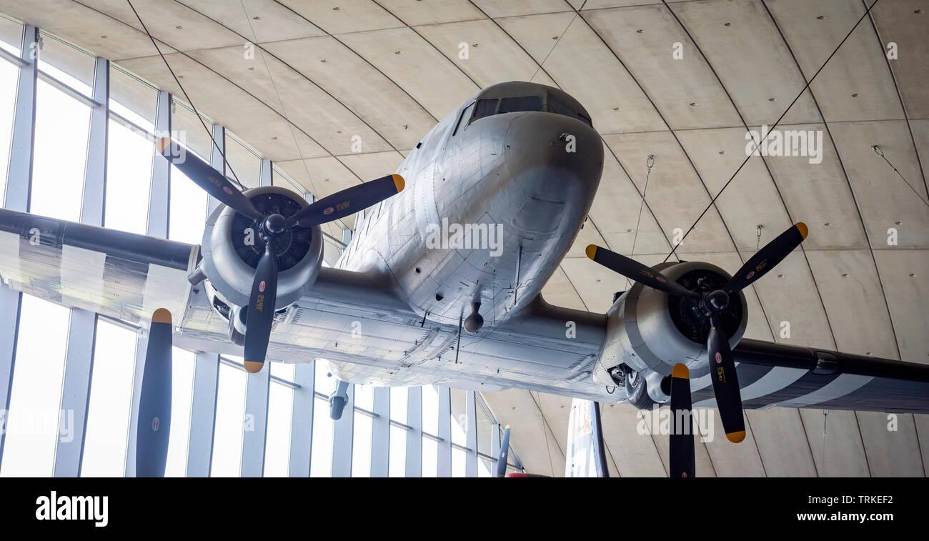 Douglas C47 Skytrain/Dakota military transport plane at the Imperial War Museum, Duxford, Cambridgeshire, UK - Stock Image