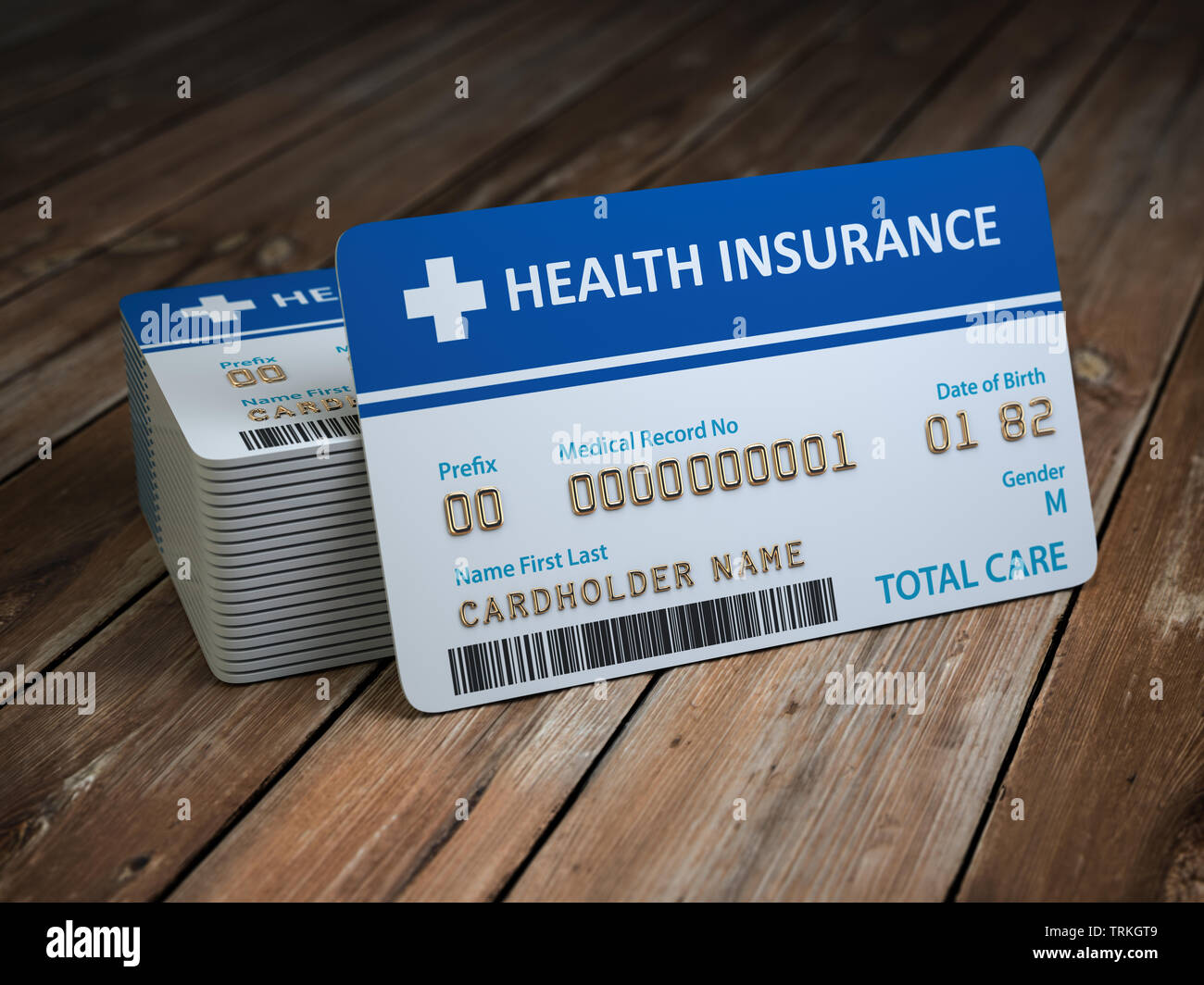 Health care medical Insurance card on the wood background. 3d illustration - Stock Image
