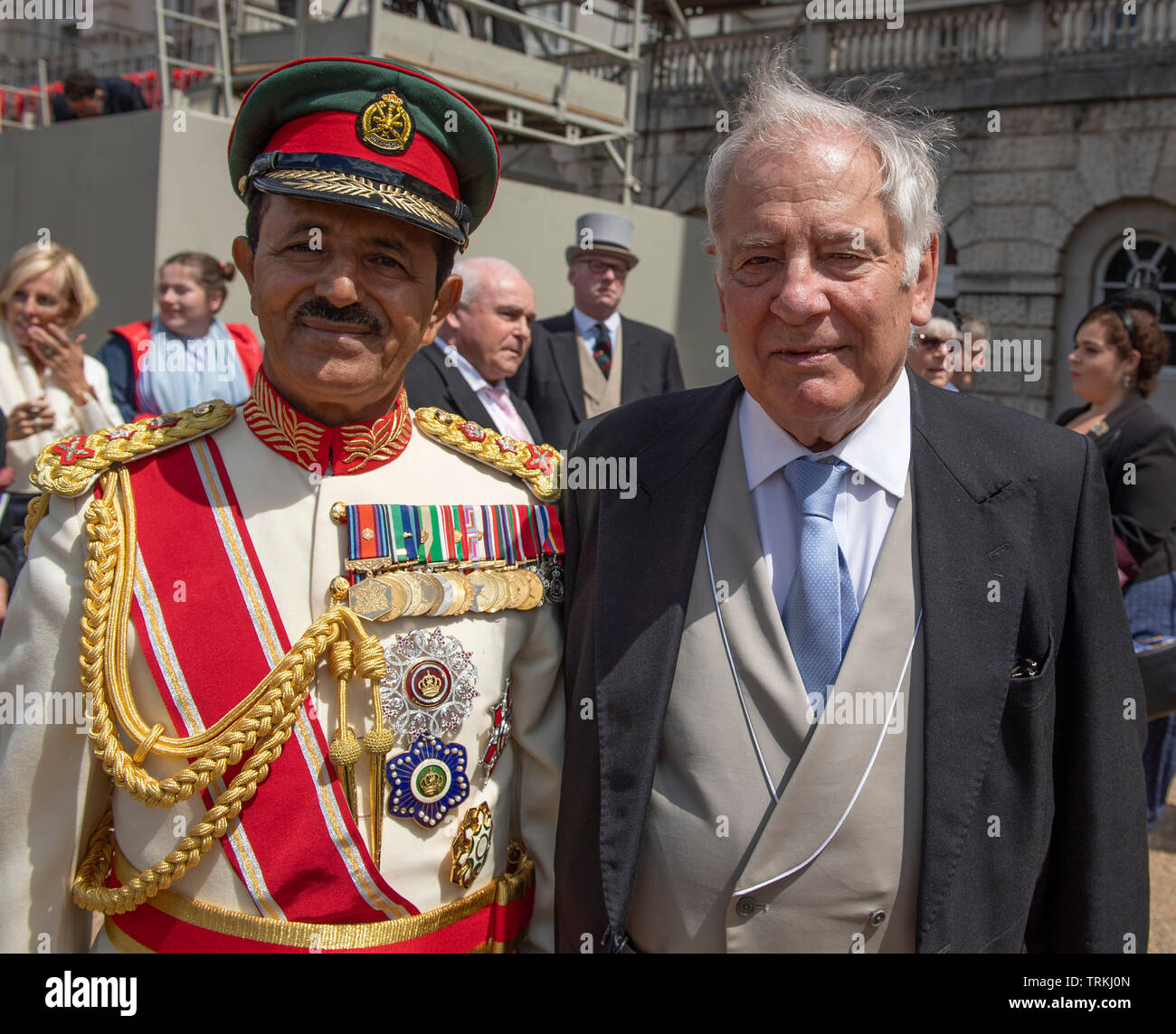 Horse Guards Parade, London, UK. 8th June 2019. Guests leave Horse Guards Parade after Trooping the Colour. Image: Chief of Staff of Sultan's Armed Forces (Sultanate of Oman) Lt Gen Ahmed bin Harith al Nabhani with former UK Chief of Defence Staff Field Marshal Lord Guthrie, who was injured after falling from his horse in the 2018 Trooping the Colour. Credit: Malcolm Park/Alamy Live News. Stock Photo