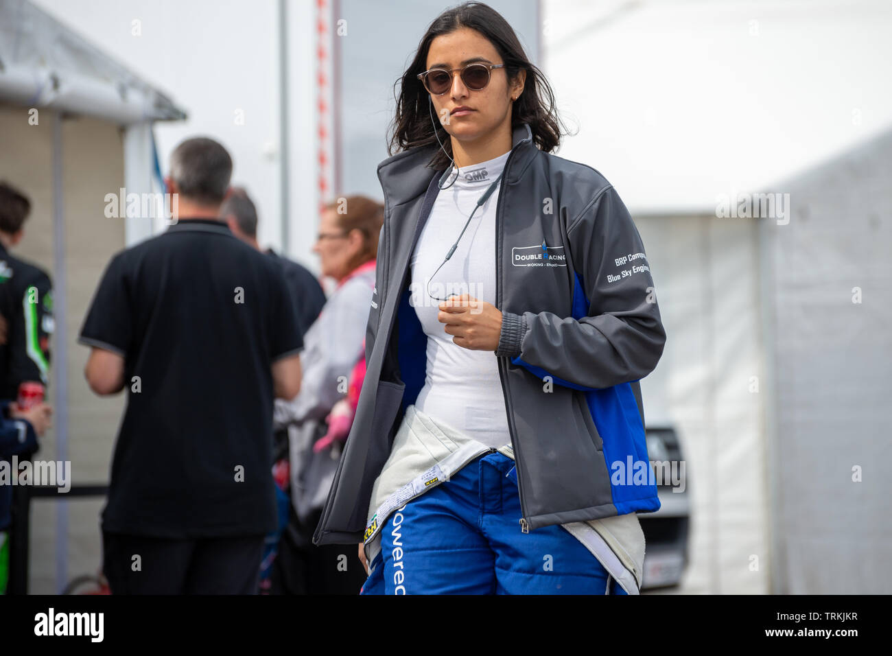 Reema Al Juffali, saudi Arabian female F4 Formula 4 racing Driver in the paddocks at Thruxton Race Circuit, Hampshire, England - Stock Image
