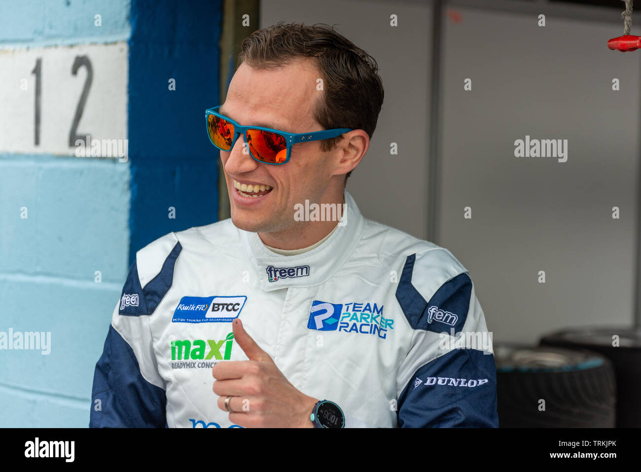 Stephen Jelly BTCC Racing Driver at Thruxton During the Kwikfit British Touring Car Championship Weekend of May 18th and 19th 2019 - Stock Image