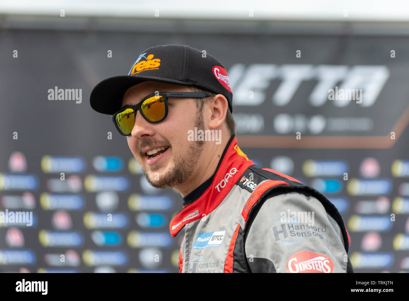 Tom Ingram BTCC Racing Driver at Thruxton During the Kwikfit British Touring Car Championship Weekend of May 18th and 19th 2019 - Stock Image