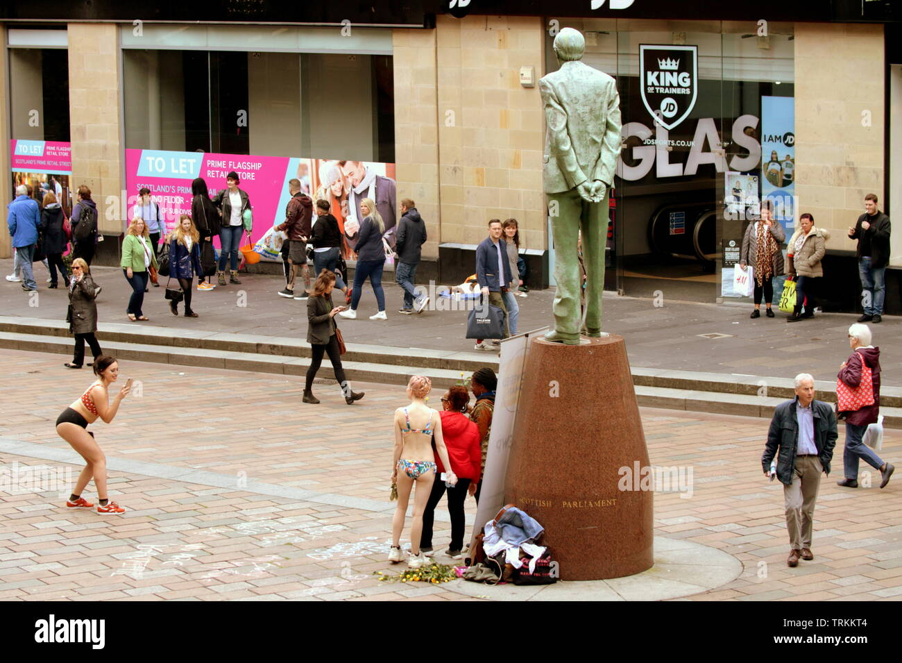 Glasgow, Scotland, UK 8th June, 2019. The Empowered Woman's Project with its founder and driver Mandy Rose Jones  took to the steps of the royal concert hall at the head of the city's style mile to raise awareness of body shaming at the foot of the Donald Dewar statue #TEWP. Credit: Gerard Ferry/ Alamy Live News Stock Photo