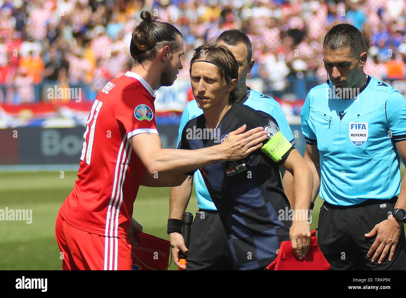 4ccf0d61e741 Osijek, Croatia. 08th June, 2019. Gareth Bale of Wales with Croatia captain