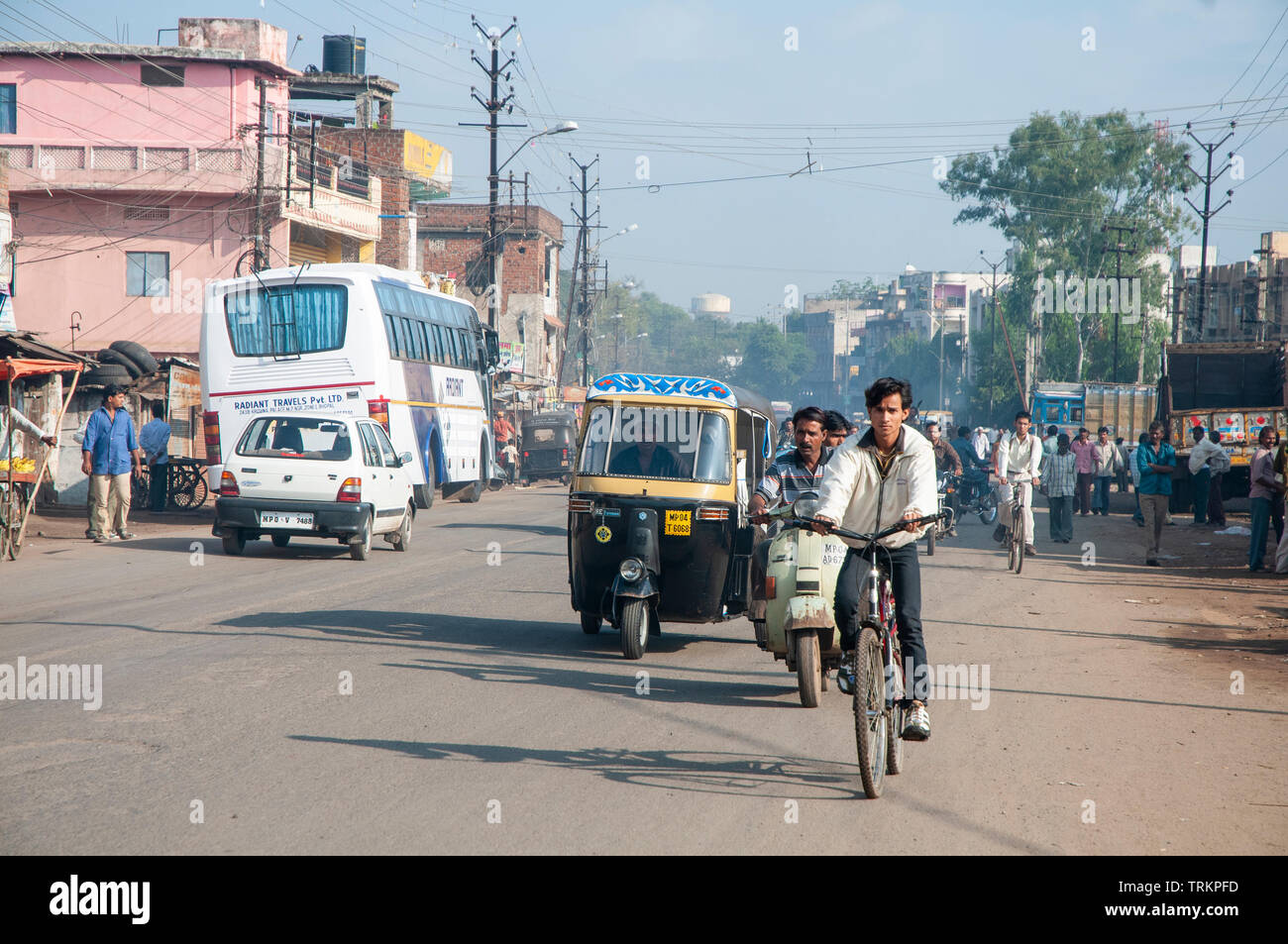 Traffic on the streets of Bhopal in India Stock Photo