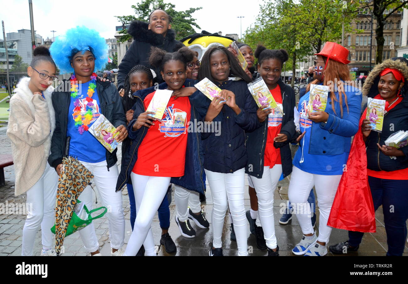 June 8, 2019. Supporters of the Christ Embassy Manchester at their street music festival in Piccadilly Gardens, city centre, Manchester, uk.  Christ Embassy Manchester is part of the Loveworld Central Church. - Stock Image