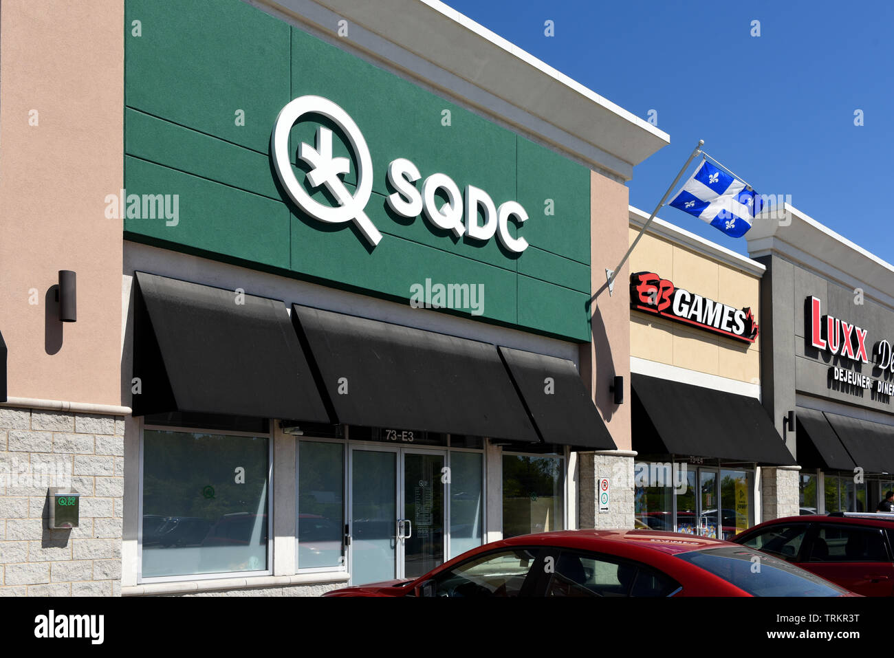 Gatineau, Quebec, Canada - June 8. 2019:  Quebec Cannabis Corporation (SDQC) store in a strip mall on Boulevard de la Gappe. The provincially owned co - Stock Image