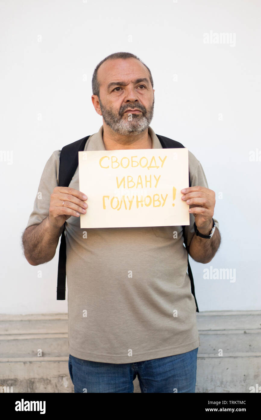 Moscow, RUSSIA - June 7, 2019: Protest held in Moscow over arrest of investigative journalist Ivan Golunov. Shenderovich Viktor - Stock Image