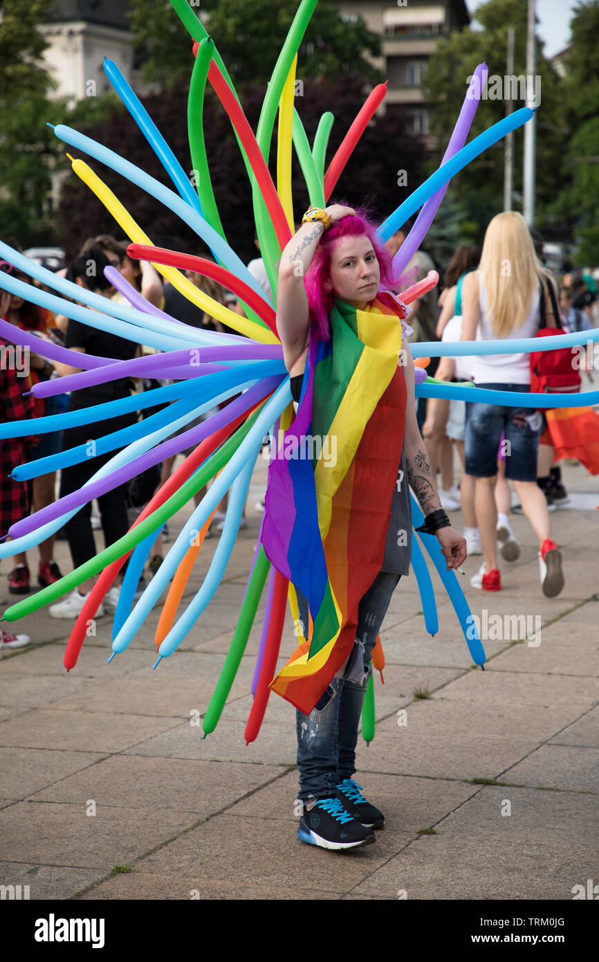 Sofia, Bulgaria - June 08, 2019: Sofia Pride is the biggest annual event dedicated to the equality and human rights of all citizens and the biggest Stock Photo