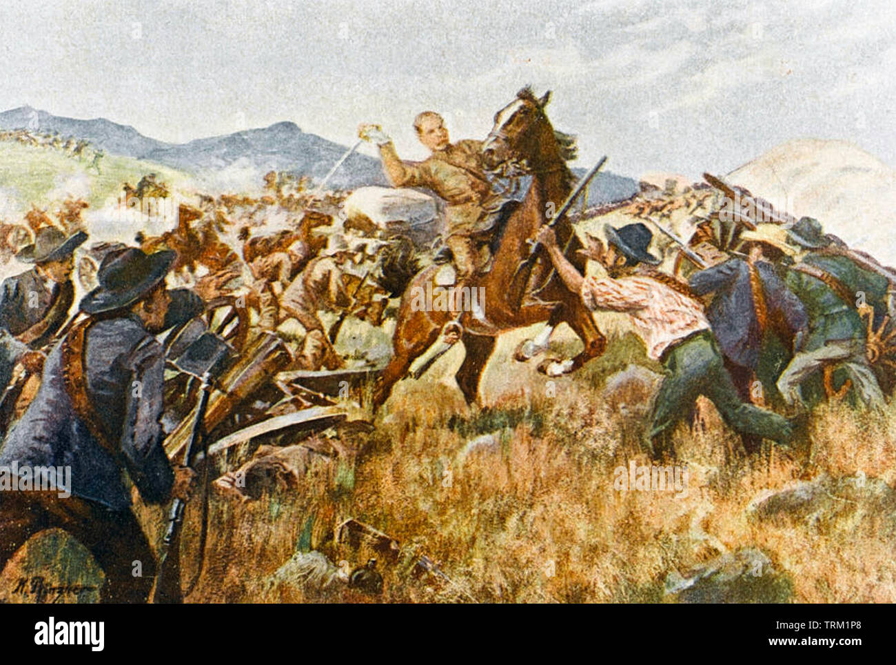 BATTLE OF TWEEBOSCH 7 March 1902. Capture of Lieutenant General Lord Methuen by the Boers - Stock Image