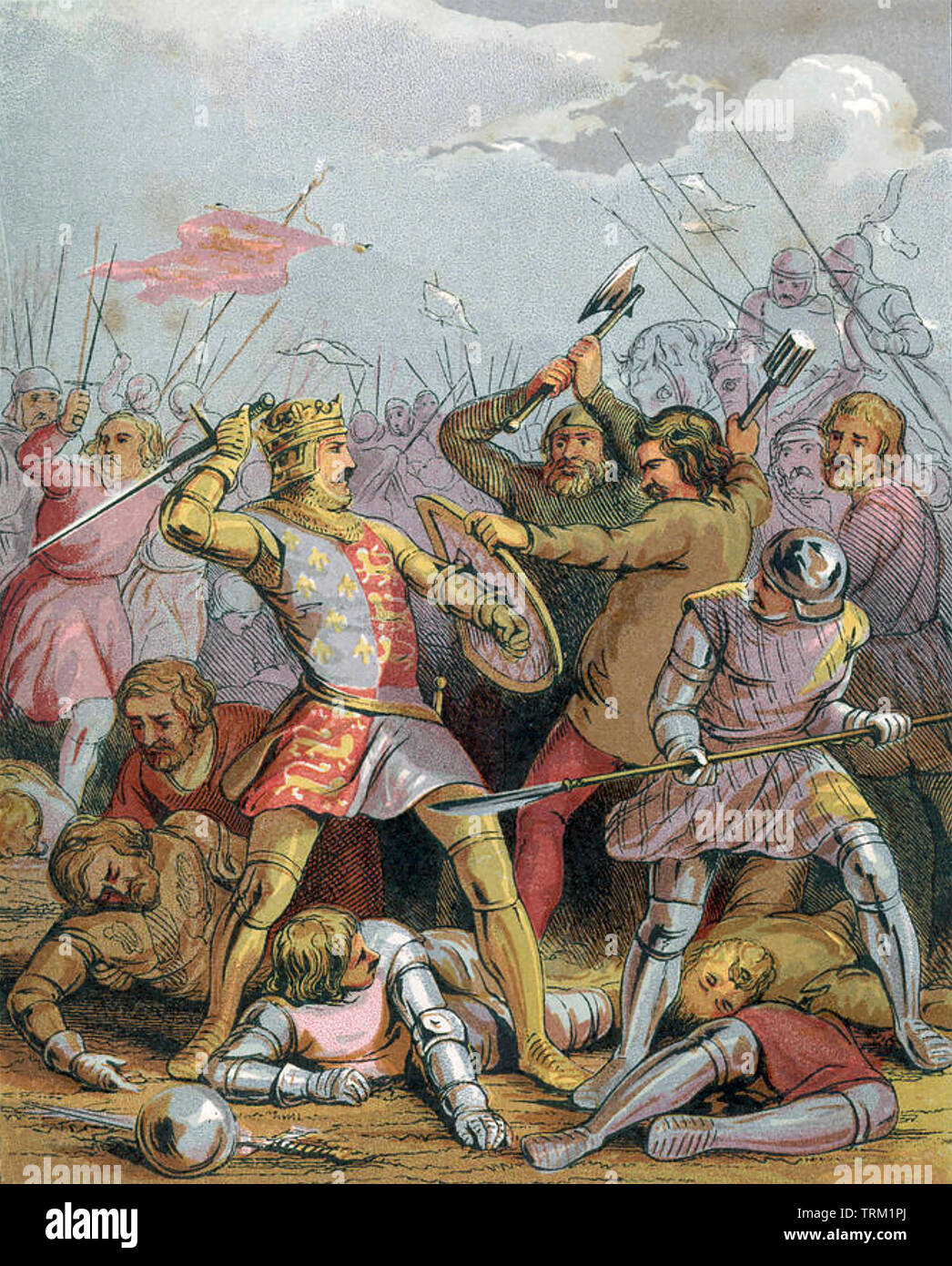 HENRY V OF ENGLAND (1386-1422) fighting during the Hundred Years War in a 19th century artwork - Stock Image
