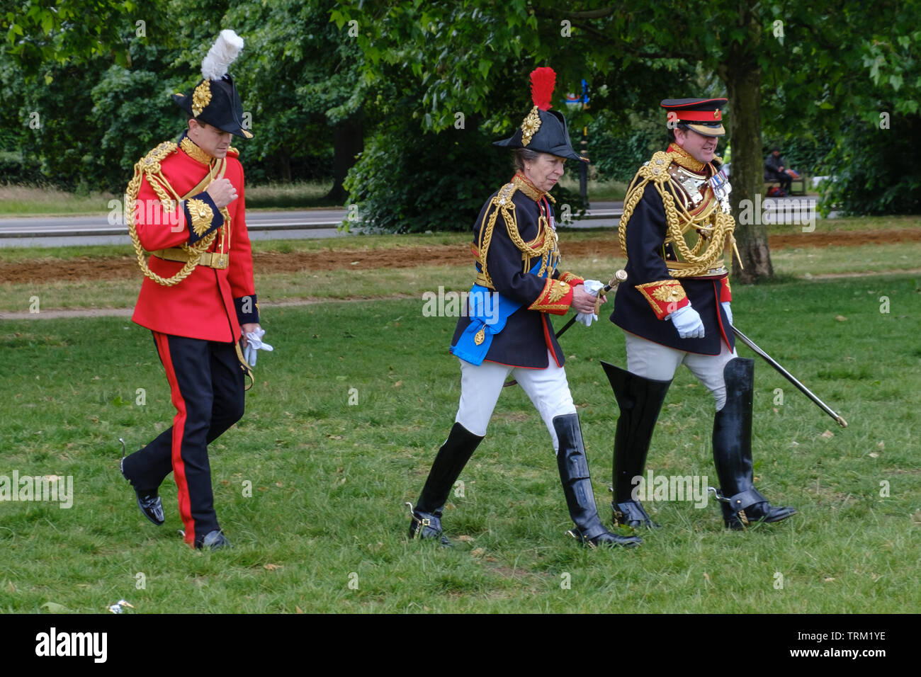 London, England - June 8, 2019: Her Royal Highness The Princess Royal, Colonel of The Blues and Royals  walking in the Hyde Park Together with Officer Stock Photo