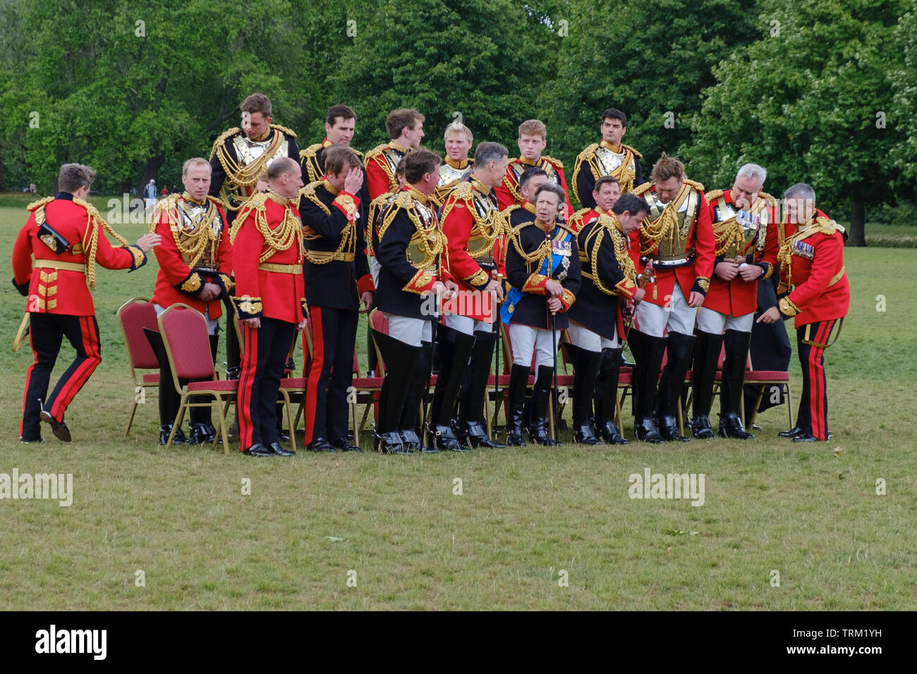 London, England - June 8, 2019:  Her Royal Highness The Princess Royal, Colonel of The Blues and Royals  and Officers of the Household Cavalry Mounted Stock Photo
