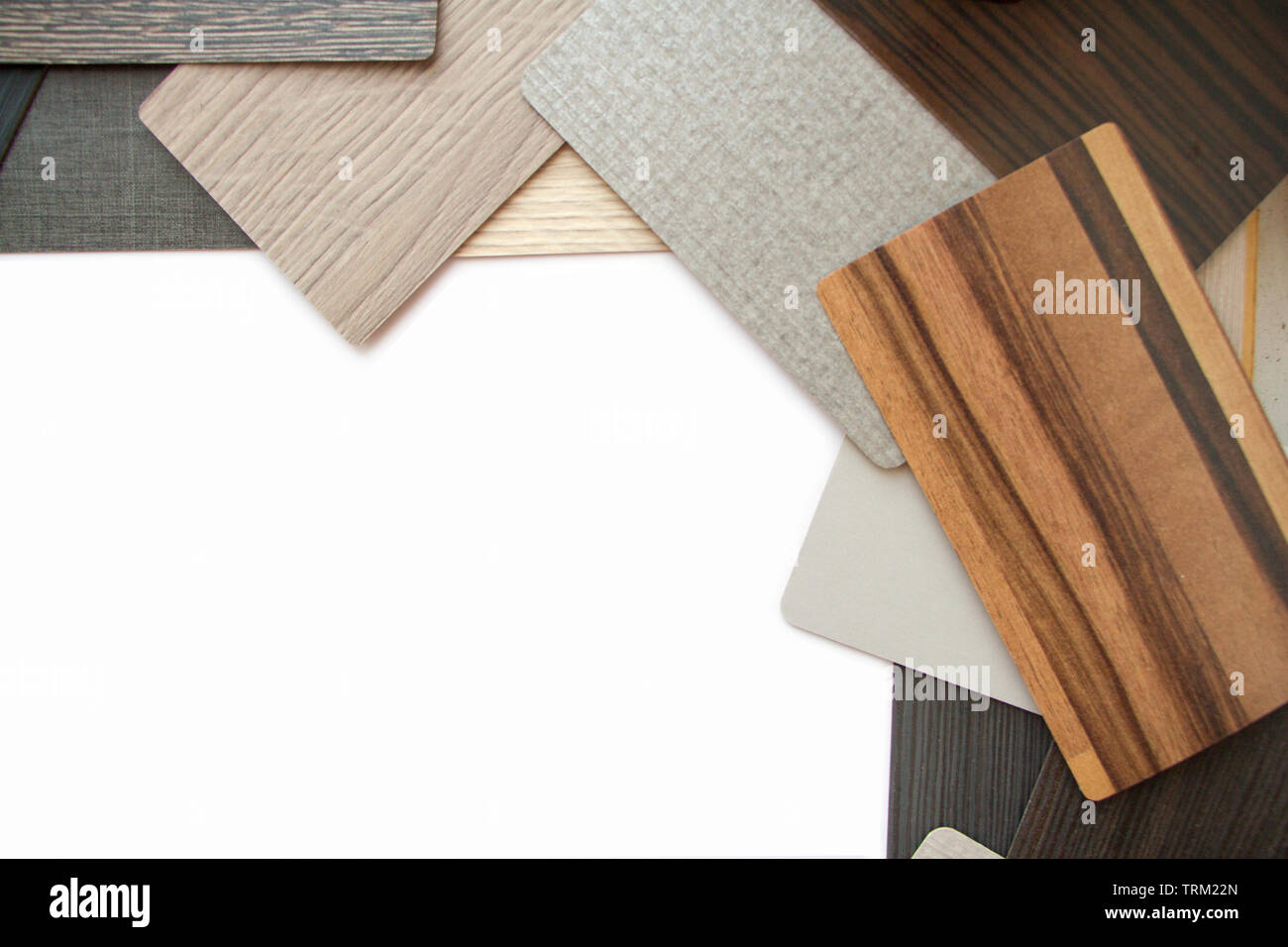Background or concept of multi-colored cards in gray and brown tones and different textures isolate on a white background, copy space - Stock Image