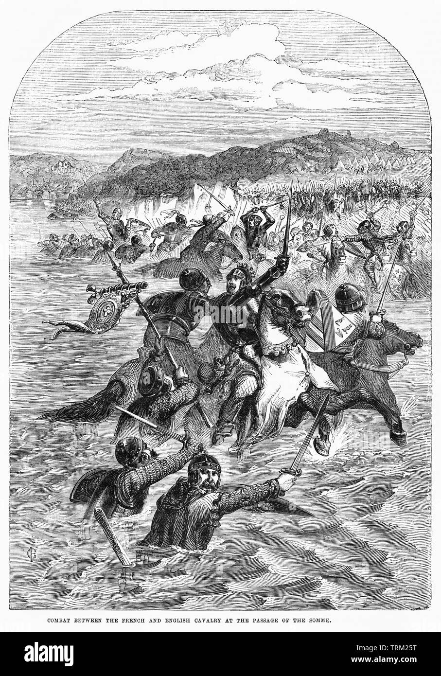 Combat Between the French and English Cavalry at the Passage of the Somme, Illustration from John Cassell's Illustrated History of England, Vol. I from the earliest period to the reign of Edward the Fourth, Cassell, Petter and Galpin, 1857 - Stock Image