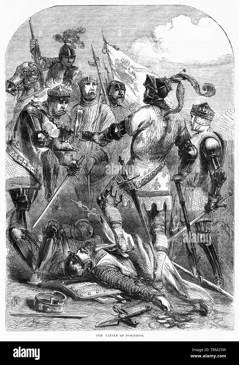 The Battle of Poictiers, Illustration from John Cassell's Illustrated History of England, Vol. I from the earliest period to the reign of Edward the Fourth, Cassell, Petter and Galpin, 1857 - Stock Image