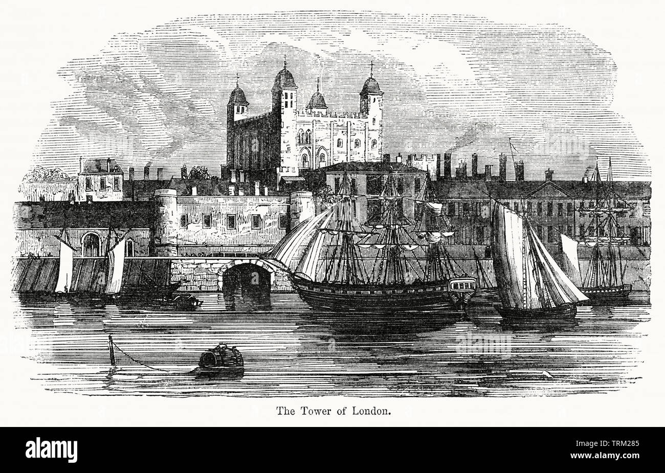 The Tower of London, Illustration from John Cassell's Illustrated History of England, Vol. I from the earliest period to the reign of Edward the Fourth, Cassell, Petter and Galpin, 1857 - Stock Image