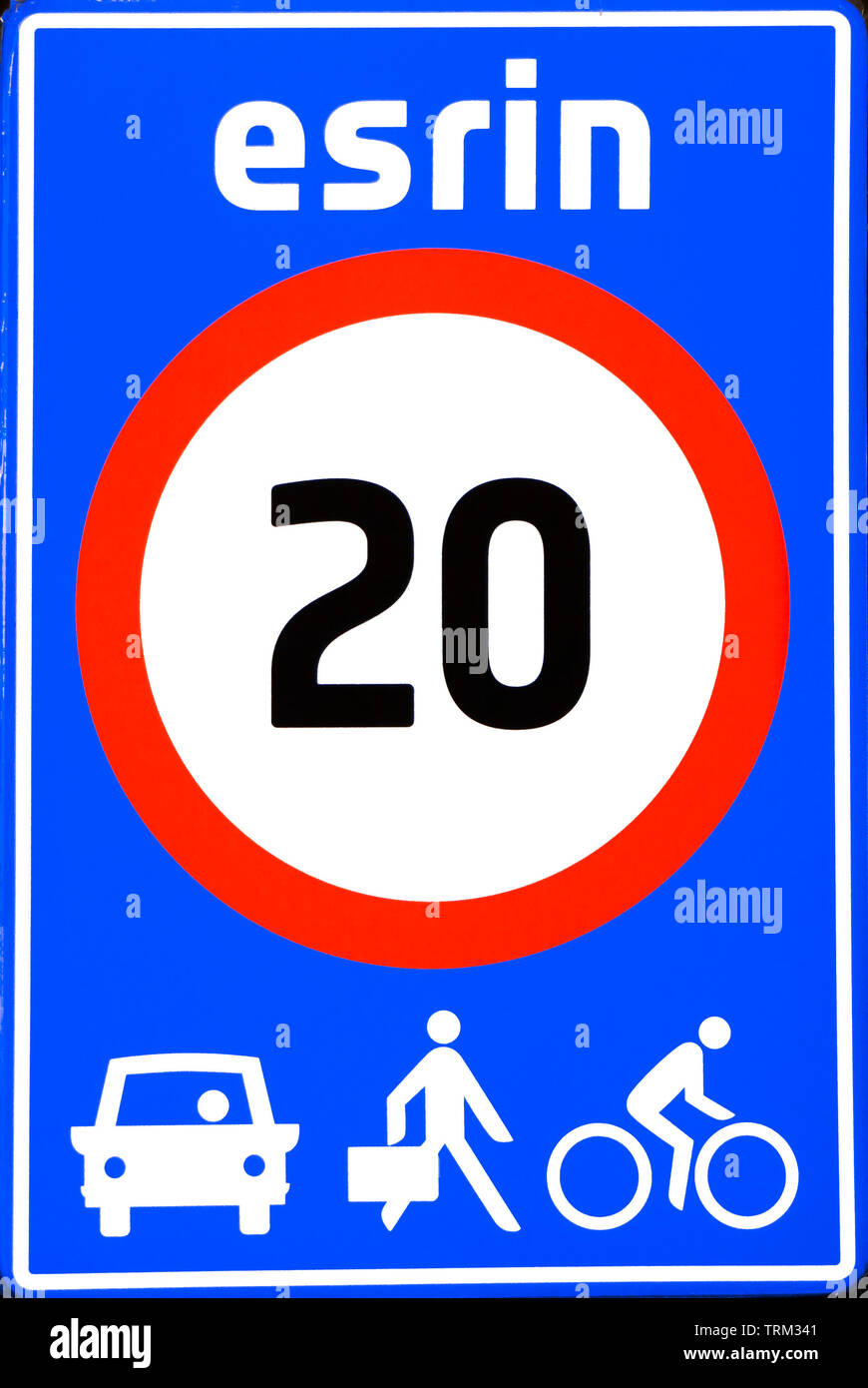 ESA/ESRIN European Space Agency Earth Observation Centre in Frascati, Rome, Italy - Funny, authentic road sign: 20km/h pedestrians included. Red blue - Stock Image