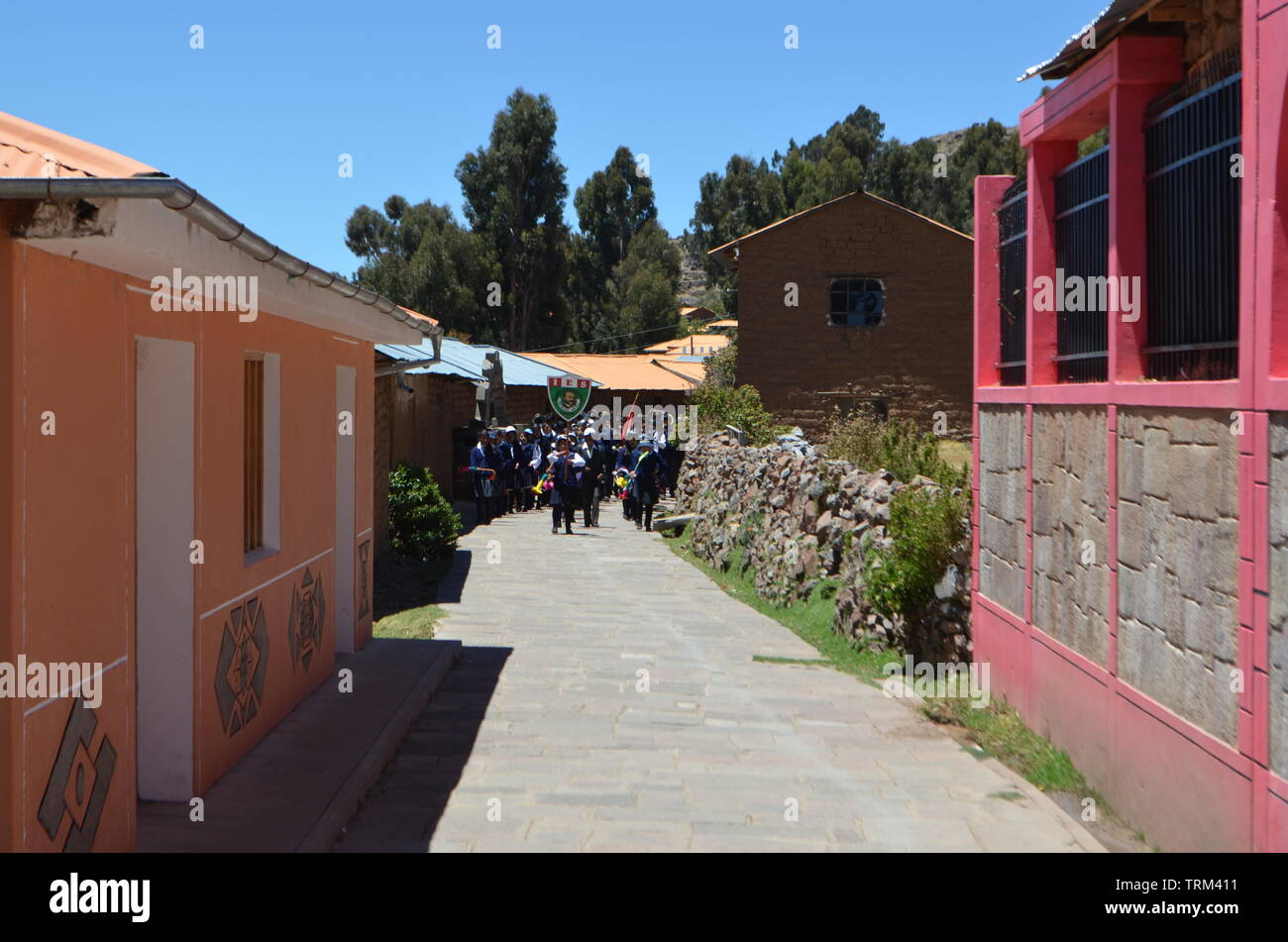 Peru,Puno. Rural houses in the countryside near Lake Titicaca. - Stock Image