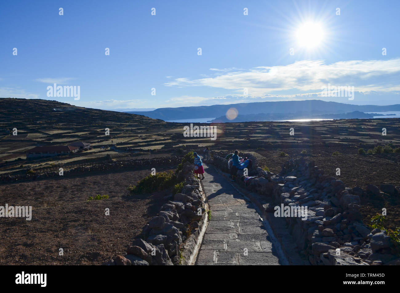 Peru,Puno.Details of stones in the field of the Island of Taquile. - Stock Image
