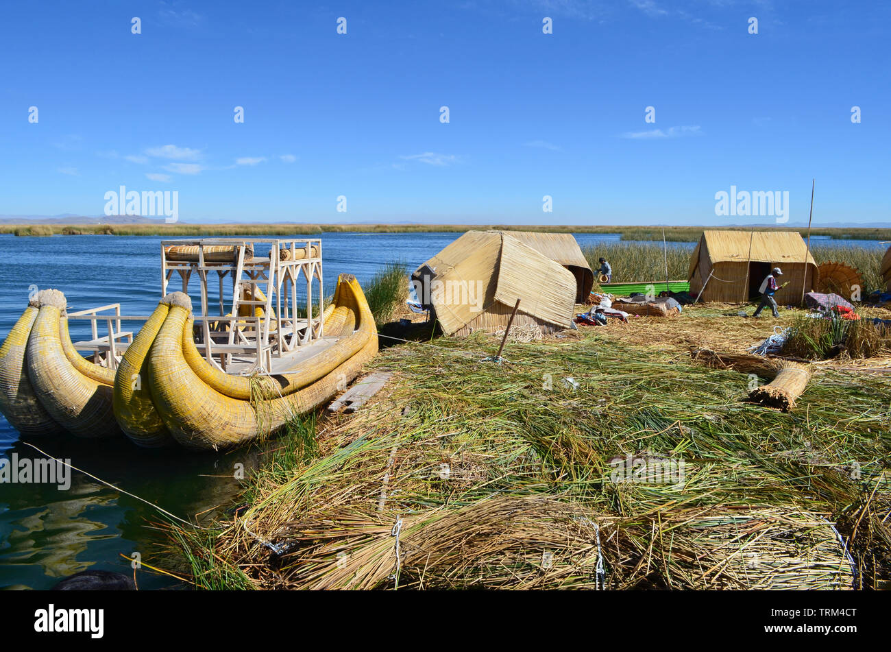 Peru,Puno,Titicaca. View of Titicaca Lake and reed boats or caballitos de totora. - Stock Image