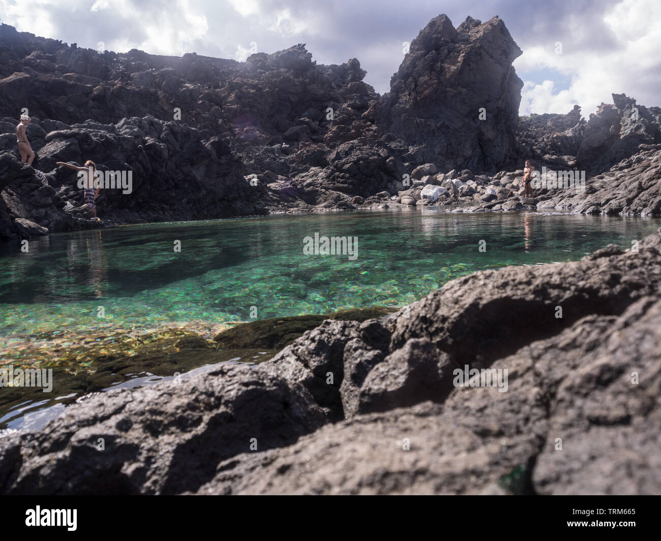 Natural ponf of ondine, in Pantelleria, Italy. Mediterranean landscape. unfaithful love and betrayal - Stock Image