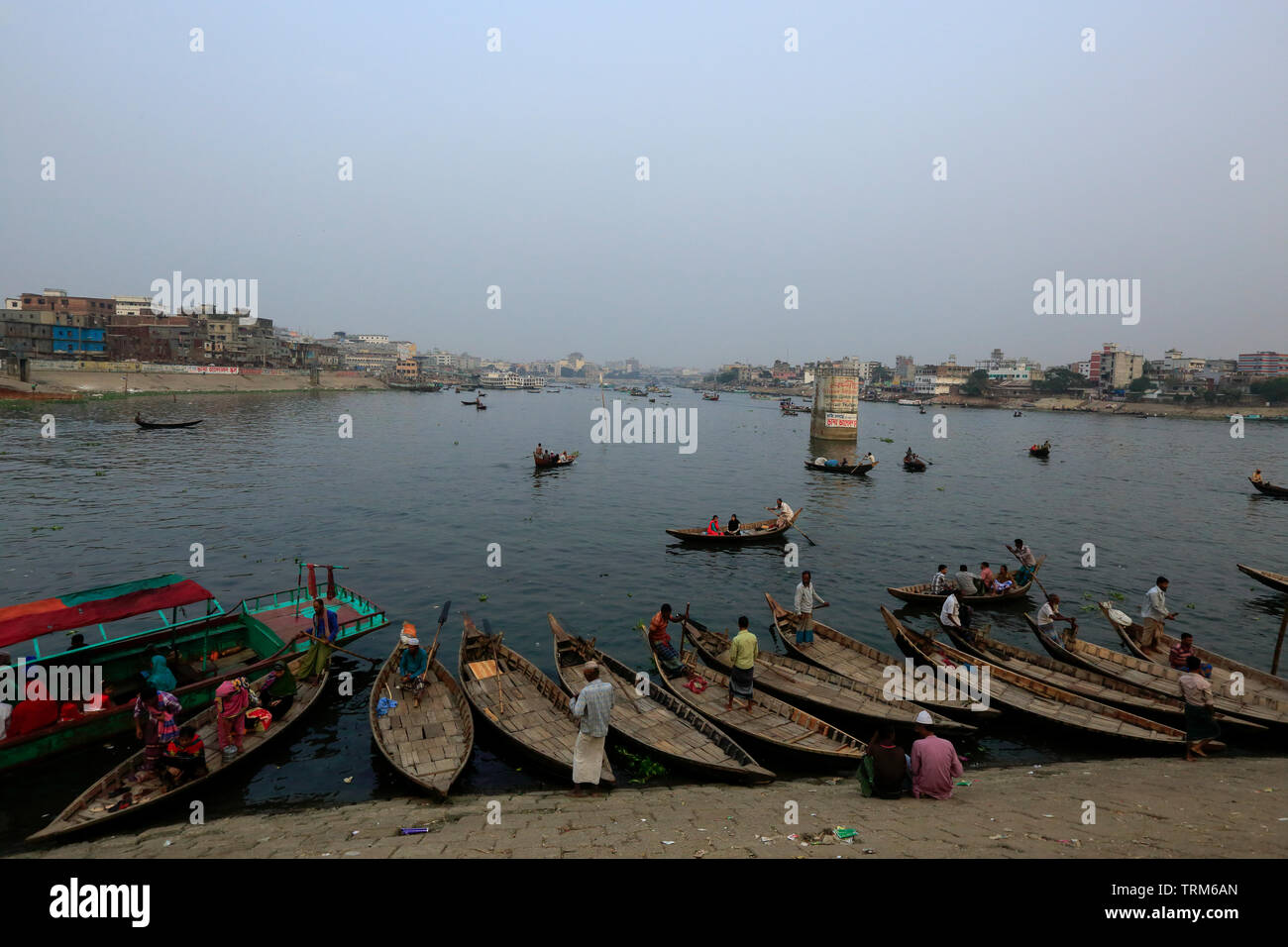 Ferry boats on the Buriganga River. Dhaka, bangladesh - Stock Image