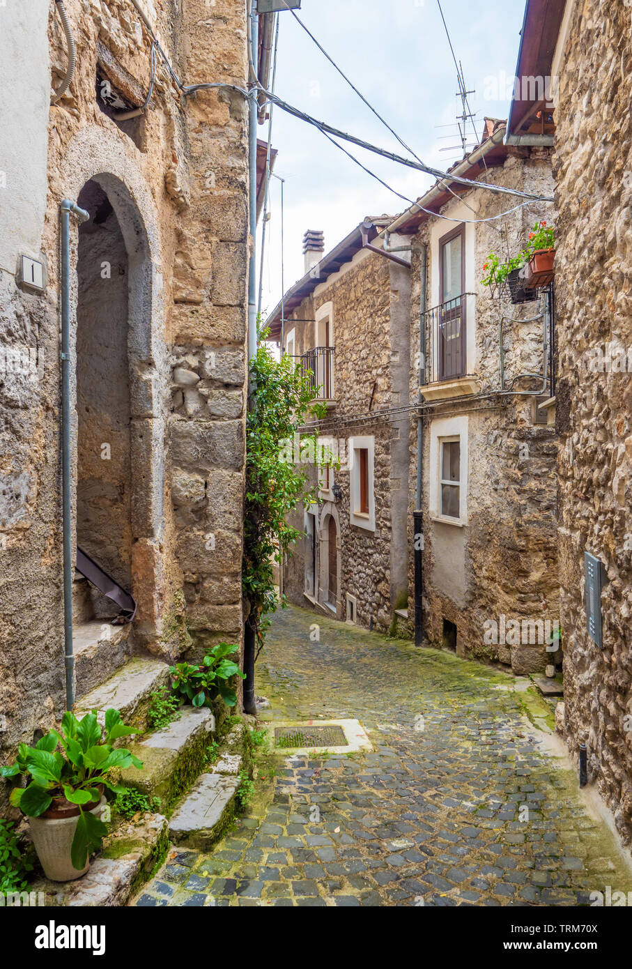 Assergi (Abruzzo, Italy) - A small charming medieval village surrounded by stone walls, in the municipality of L'Aquila, under the Gran Sasso mountain Stock Photo