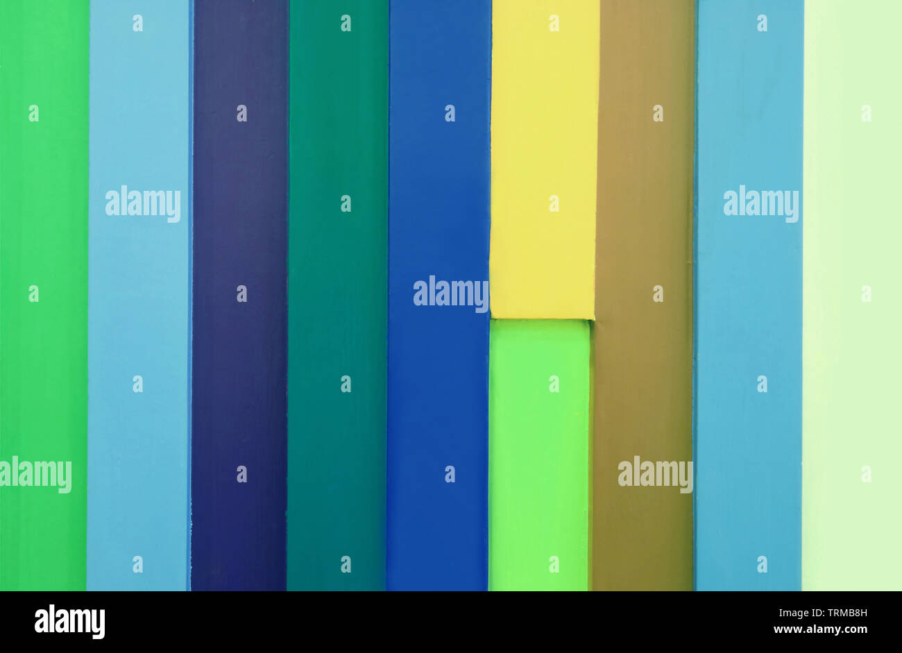 Front View of Multi-colored Wooden Plank for Background or Banner - Stock Image