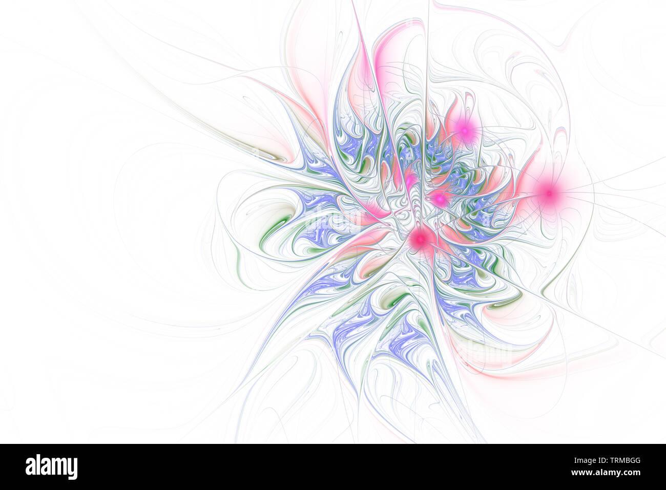 Fractal illustration of bright background with floral ornament. Creative element for design. Fractal flower rendered by math algorithm. Digital artwor Stock Photo