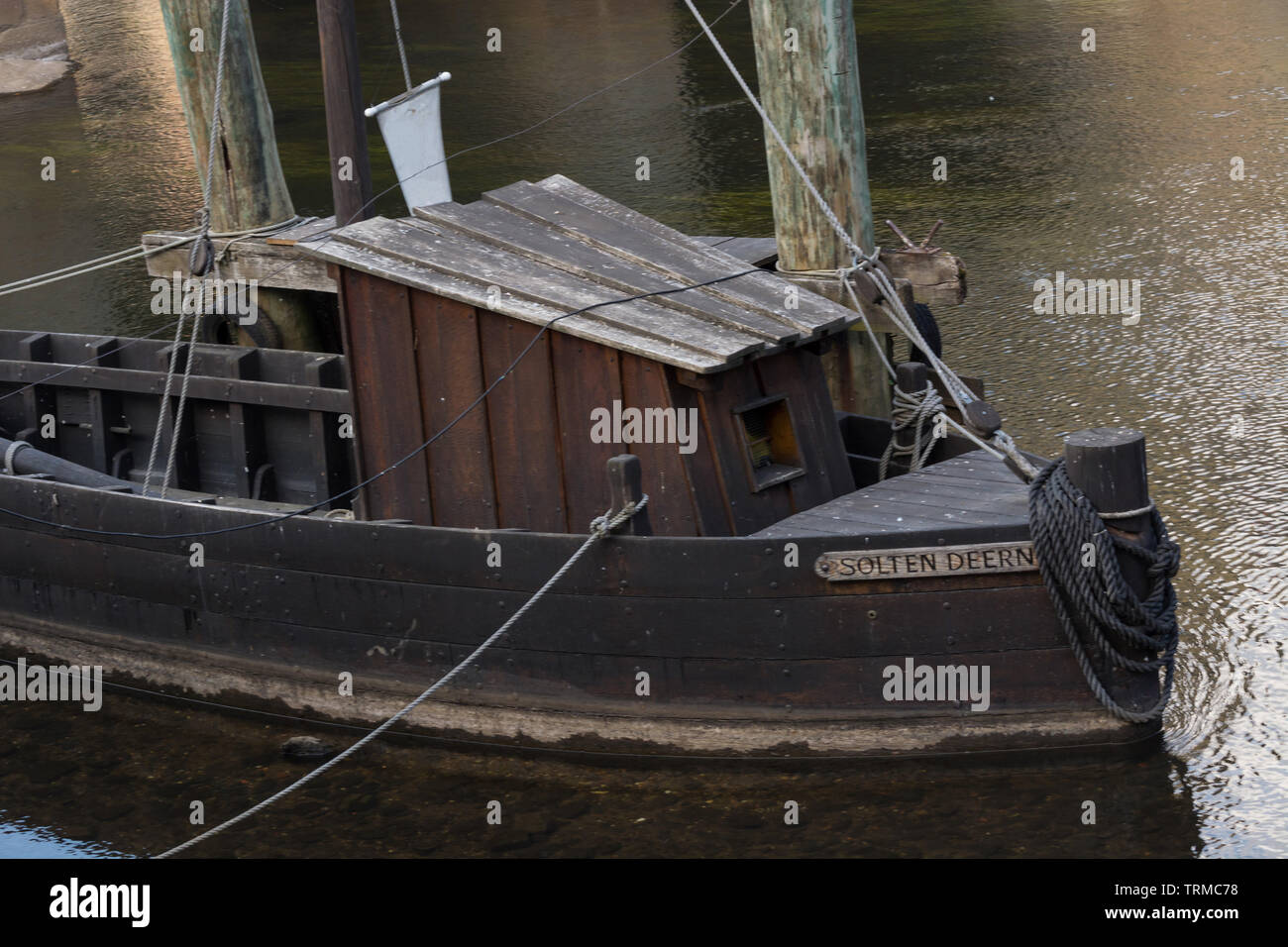 Historic harbor region Lüneburg with the ships salt Ewer and the salt Prahm, Lower Saxony Germany Stock Photo