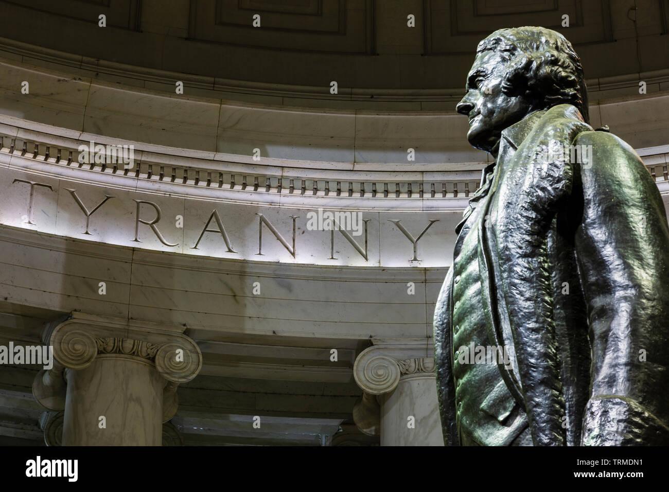 Interior of Thomas Jefferson Memorial Washington, DC - Stock Image