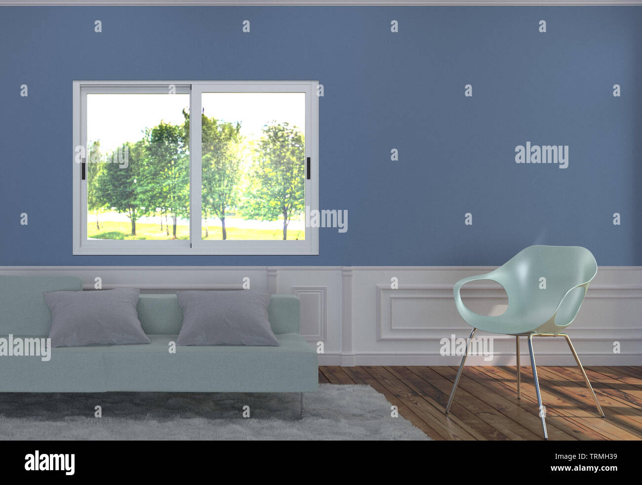 Groovy Living Room Interior With Light Blue Sofa And Two Pillows Beatyapartments Chair Design Images Beatyapartmentscom