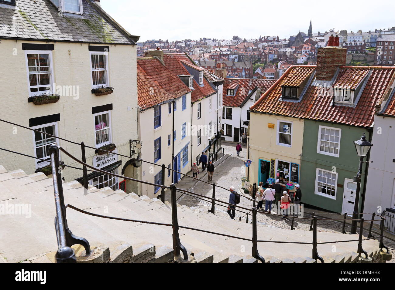 Abbey Steps, going up from old town to St Mary's, Whitby, Borough of Scarborough, North Yorkshire, England, Great Britain, United Kingdom, UK, Europe Stock Photo